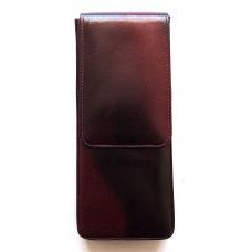 3 Pen Magnetic Flap Case, Oxblood