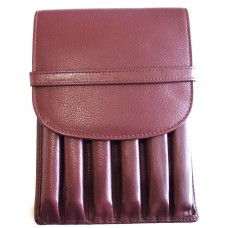 6 Pen Top Flap Case, Brown