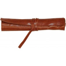 Flying Spirit Leather Pen Roll - Cognac