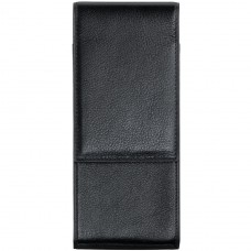 Soft Black Leather Pouch - 2 pens