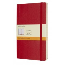 Classic Large Scarlet Red Ruled Notebook - Softcover