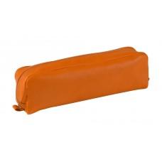 Rectangular Leather Pen Case - Orange