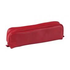 Rectangular Leather Pen Case - Red