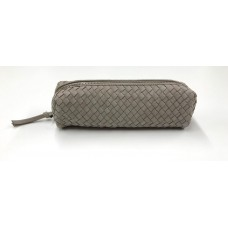 Chloe Woven Leather Pouch - Grey