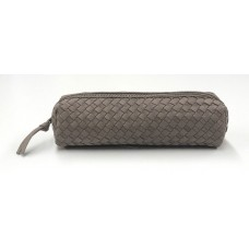 Chloe Woven Leather Pouch - Mouse