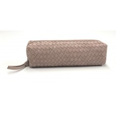Chloe Woven Leather Pouch - Blush Pink