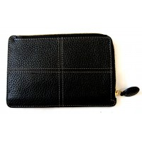 Classic Stitch Soft Zip Card Holder - Black