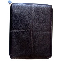 Classic Stitch Soft A4 Zip Writing Folio - Black