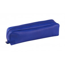 Rectangular Leather Pen Case - Blue