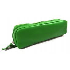Rectangular Leather Pen Case - Green